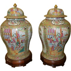 Pair of Antique Chinese Temple Jars