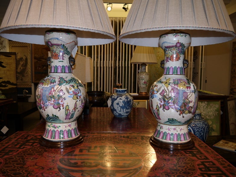 Large Pair of Chinese Vases, as Lamps In Good Condition For Sale In New York, NY