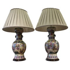 Large Pair of Chinese Vases, as Lamps