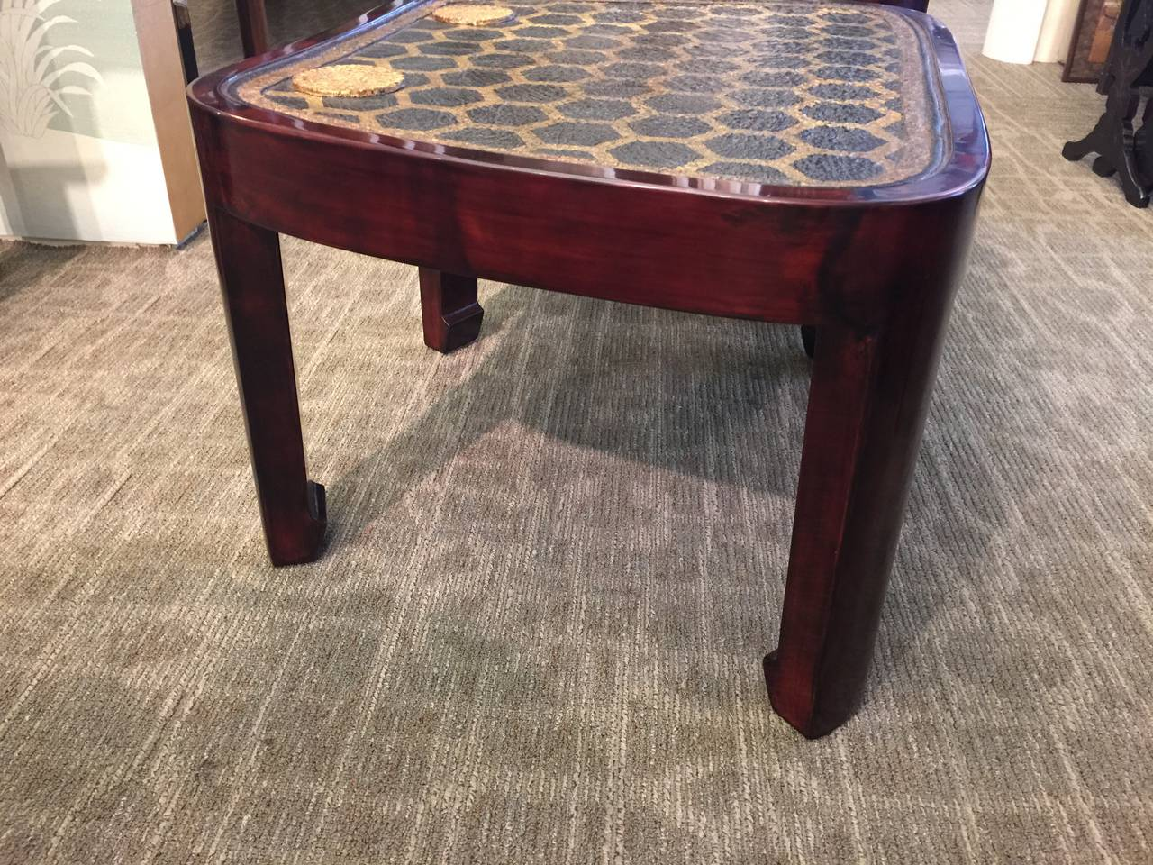 Pair of Lacquer Tables with Leather Samurai Armor Tops In Excellent Condition For Sale In New York, NY