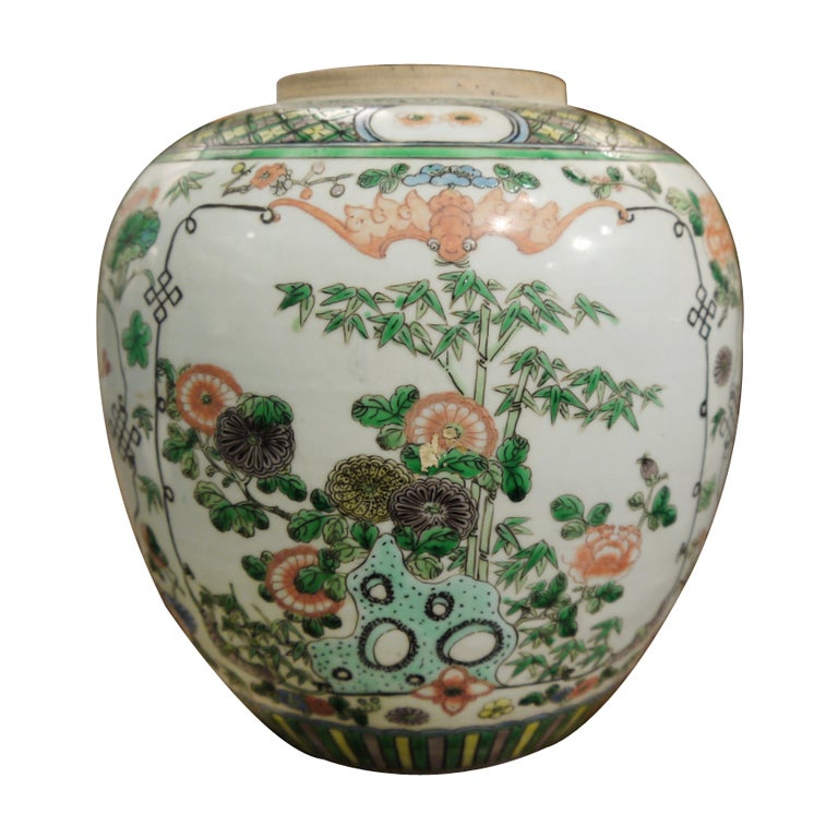 19th Century Chinese Famille Verte Jar