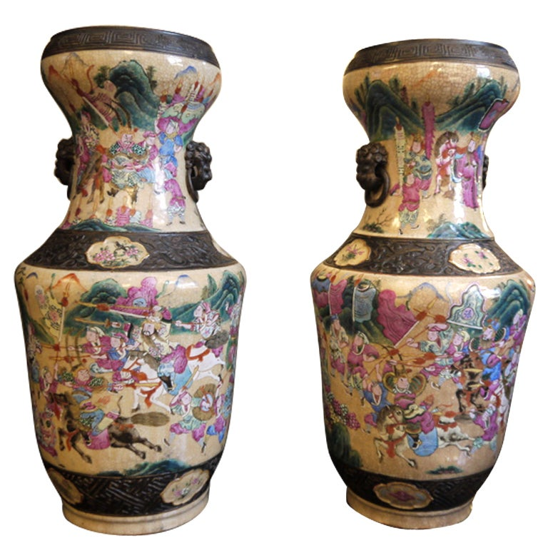 Pair of Chinese Crackleware Vases For Sale