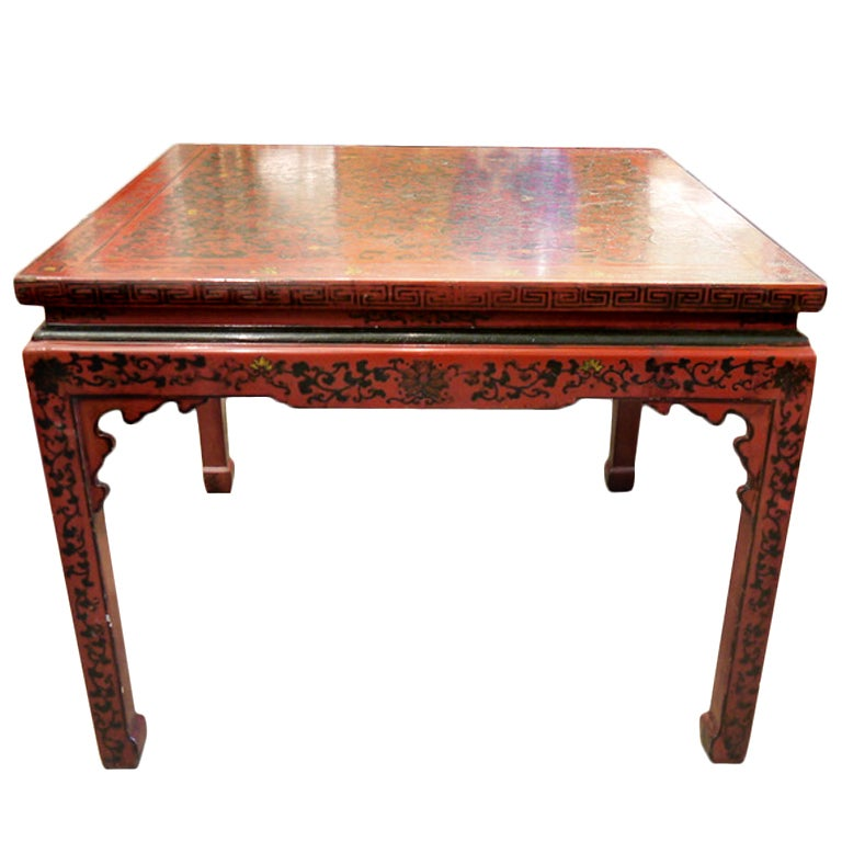 Chinese red lacquer center table at 1stdibs for Red chinese furniture