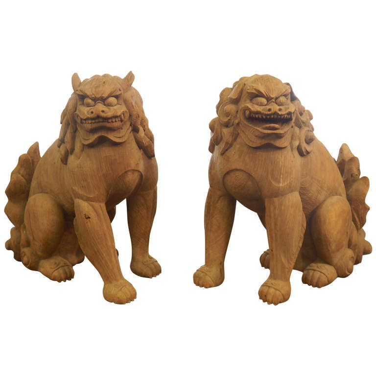 Japanese Wooden Sculpture Temple Guardians