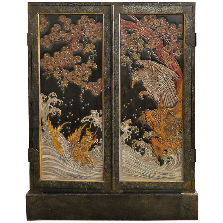 Japanese Lacquer Two Door Cabinet At 1stdibs