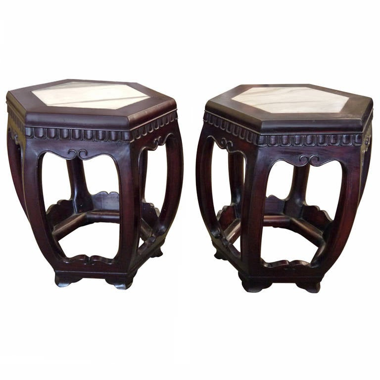 Pair of Antique Chinese Wooden Stools For Sale
