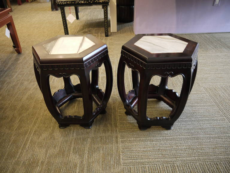 Pair of Antique Chinese Wooden Stools In Good Condition For Sale In New York, NY