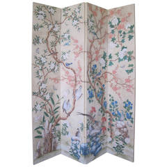 Hand-Painted Four-Panel Gracie Wallpaper Screen