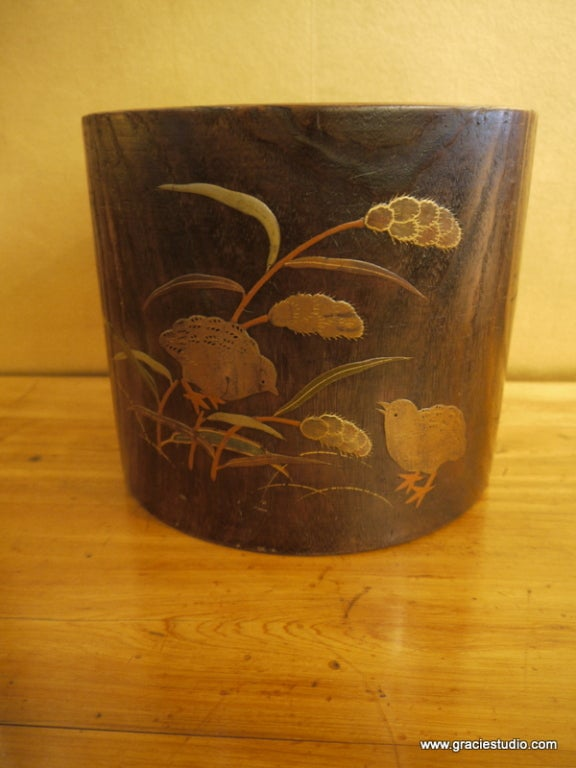 Japanese Pair of Hibachi with Chicks and Wheat For Sale