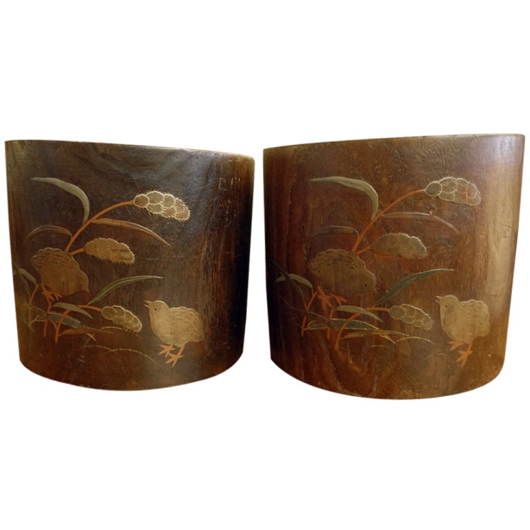 Pair of Hibachi with Chicks and Wheat For Sale