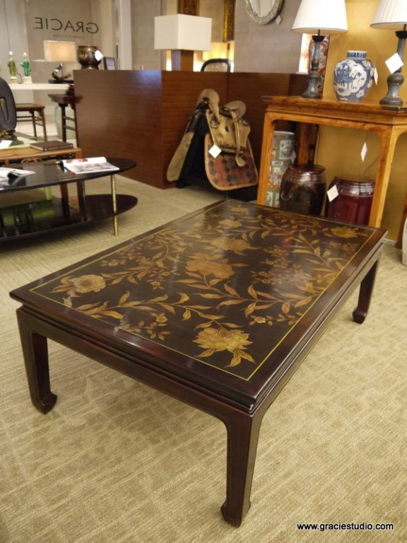 American Chinoiserie Lacquer Coffee Table For Sale
