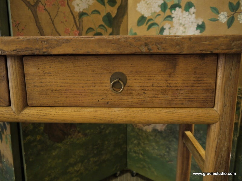 Antique Chinese Elmwood Table with Drawers In Good Condition For Sale In New York, NY