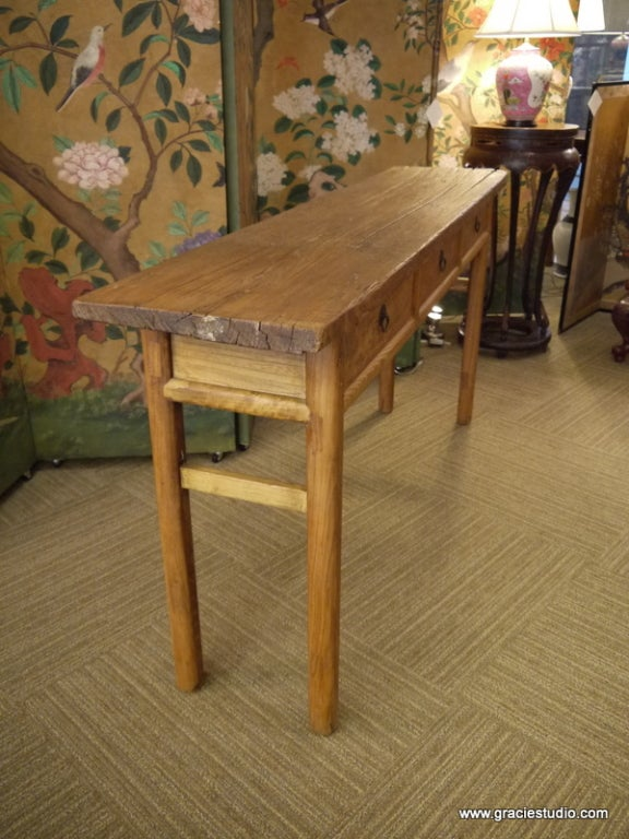 Antique Chinese Elmwood Table with Drawers For Sale 2