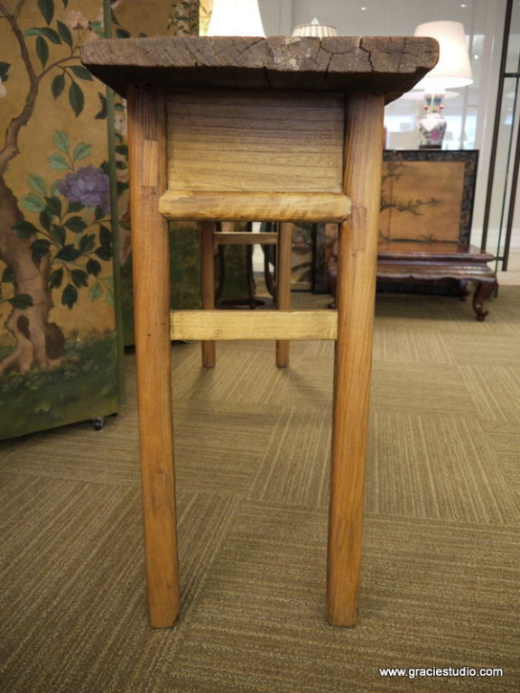 Antique Chinese Elmwood Table with Drawers For Sale 3