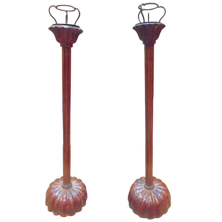 Pair of Japanese Shodukai Candle Stands