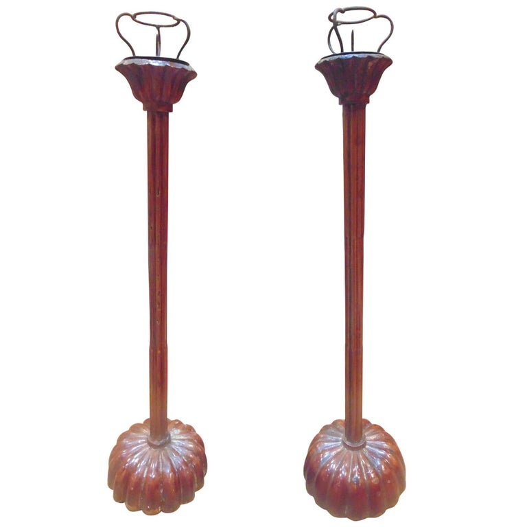Pair of Japanese Shokudai Candle Stands For Sale