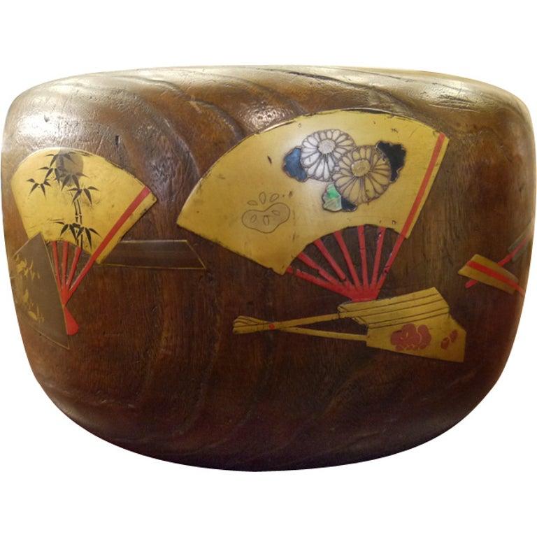 Large Japanese Wood Hibachi For Sale