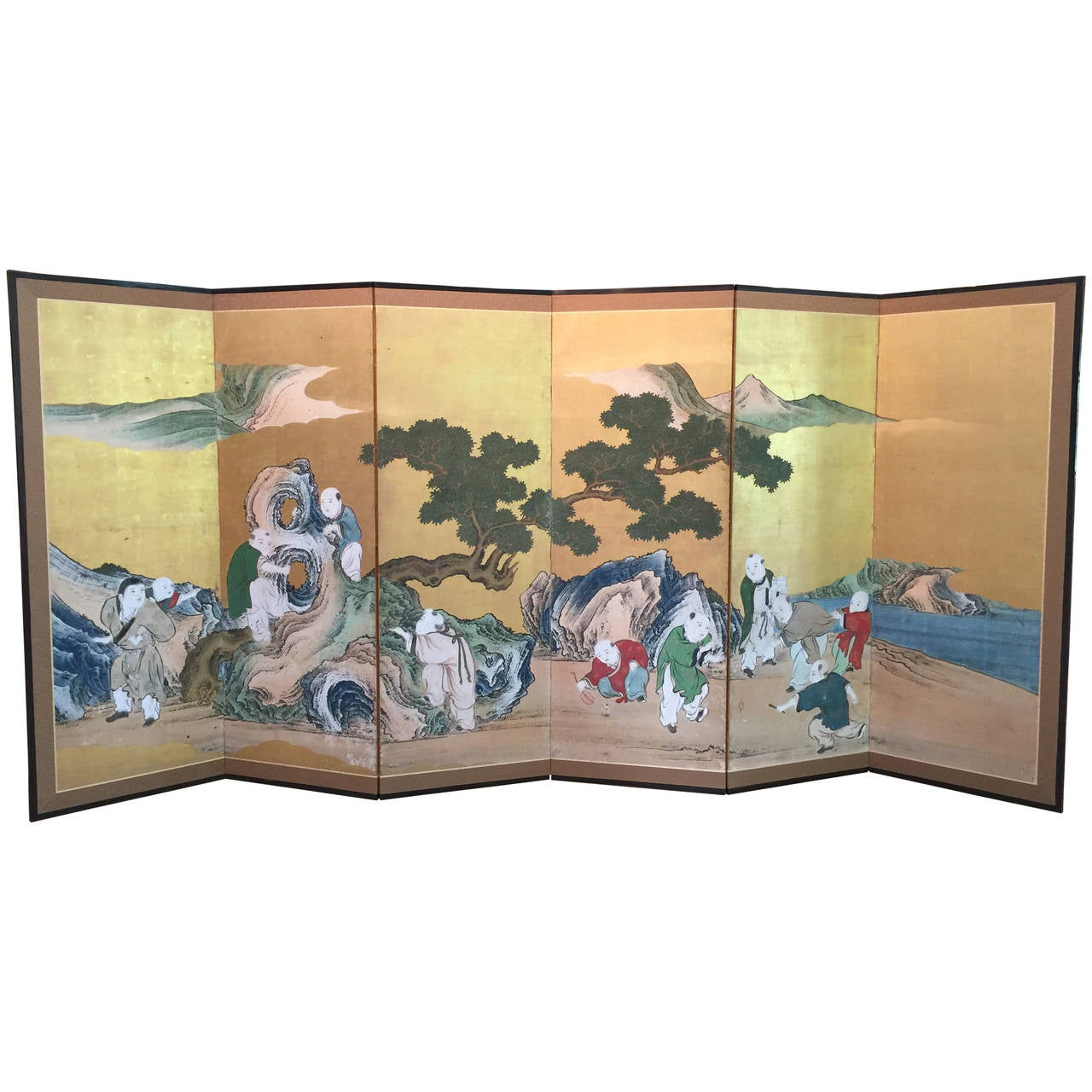 Japanese Six-Panel Screen with Children