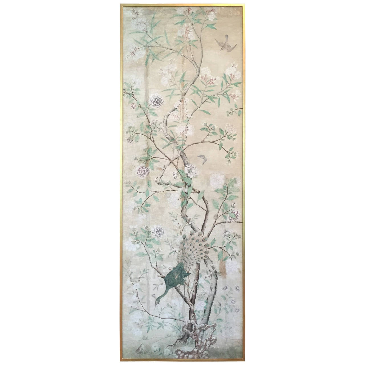 Framed 18th Century Chinese Wallpaper Panel