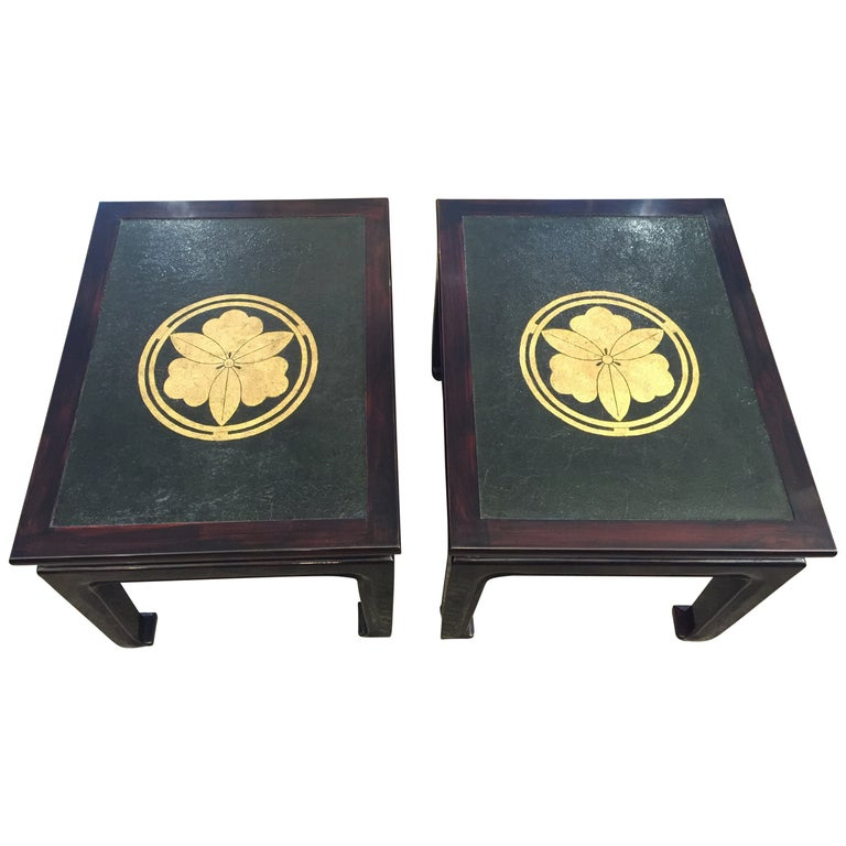 Pair of Lacquer Tables with Leather Tops For Sale