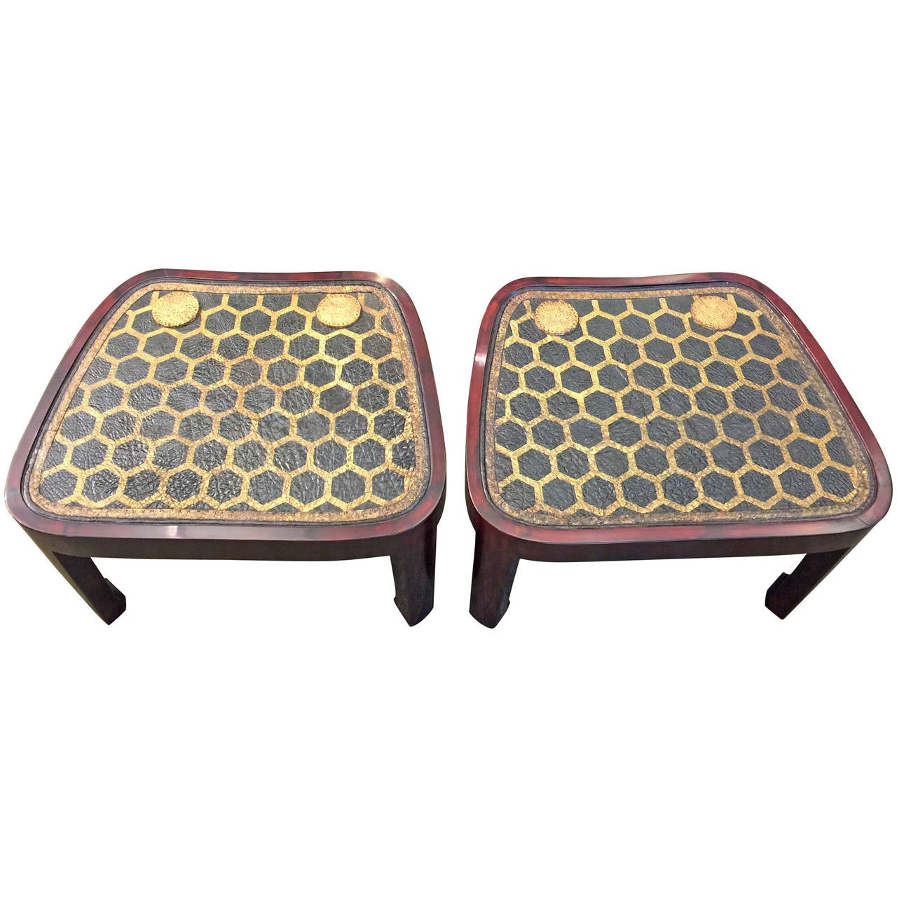 Pair of Lacquer Tables with Leather Samurai Armor Tops For Sale