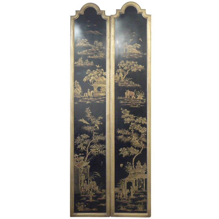 Pair of Tall Chinoiserie Wall Panels For Sale