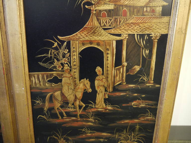 Late 20th Century Pair of Tall Chinoiserie Wall Panels For Sale