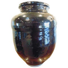 Large Black Japanese Jar