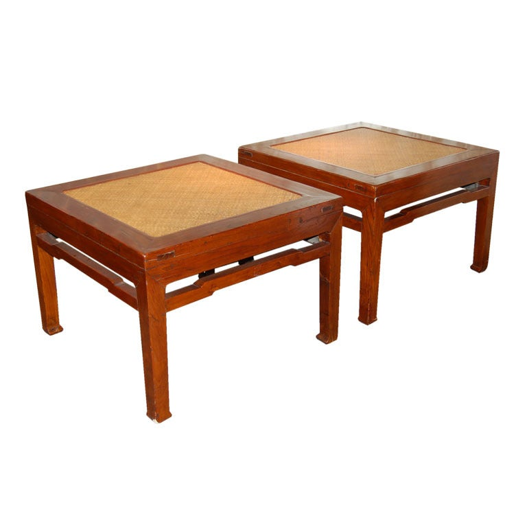 Pair of 18th Century Chinese Wooden Stools with Cane Tops For Sale