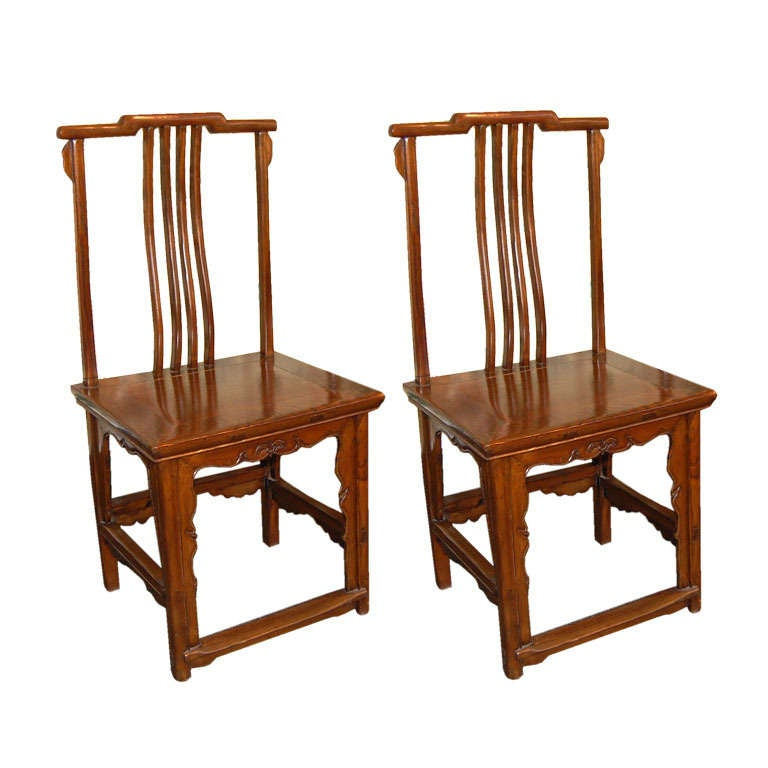 Pair of 18th Century Chinese Wooden Side Chairs For Sale