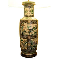 Large 19th Century Chinese Famille Noire Vase as Lamp