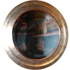 Bulls Eye Mirror with Silver or Gold Tea Leaf Frame