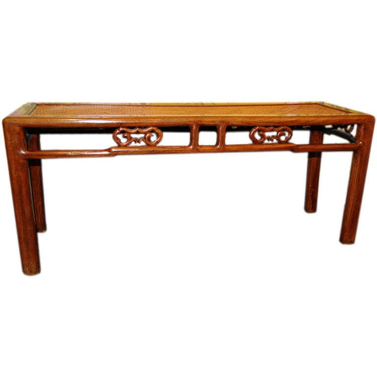 Chinese 19th Century Wooden Bench with Rattan Top 1