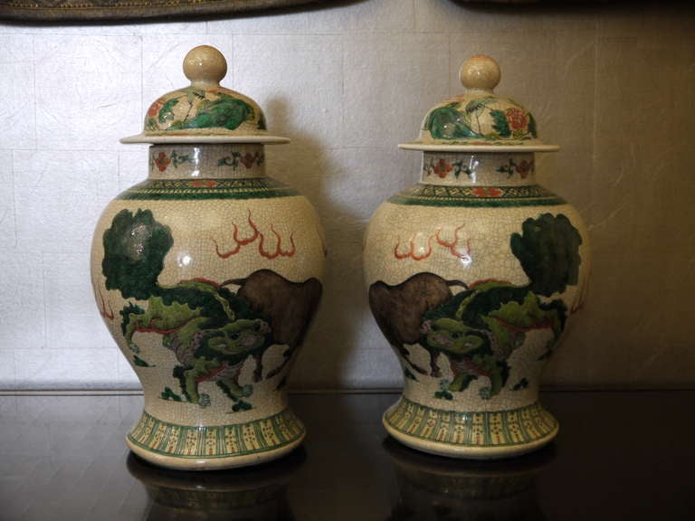 Large Pair of Chinese Temple Jars For Sale 1