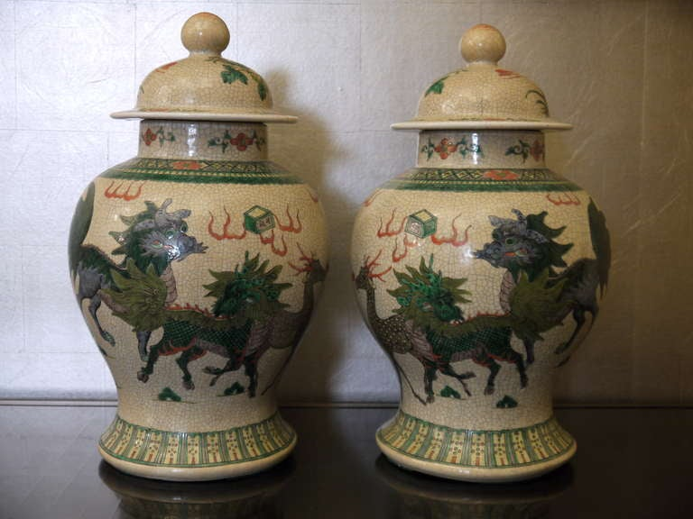A large pair of Chinese early 20th century crackleware jars with lids.