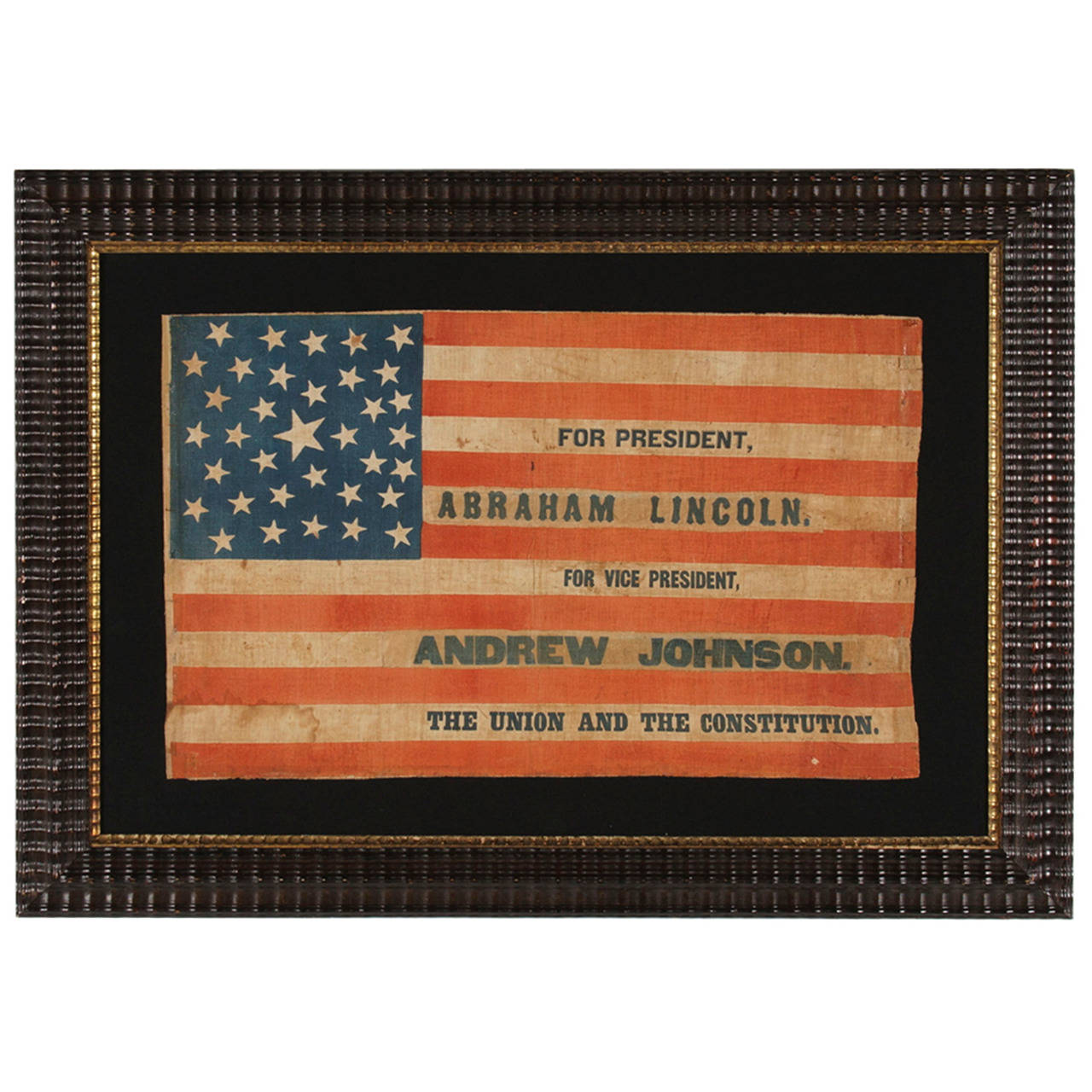 1864 Lincoln And Johnson Campaign Parade Flag Recycled