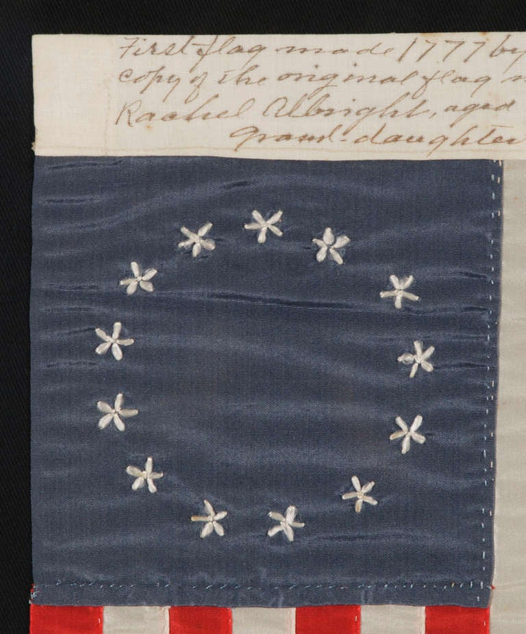 Entirely Hand-Sewn 13 Star Flag Made by Rachel Albright, Granddaughter of Betsy Ross 3