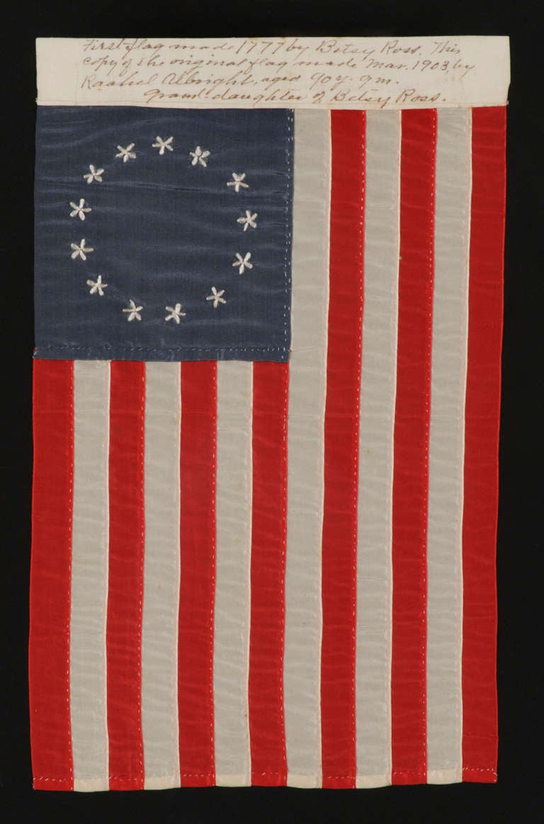 Entirely Hand-Sewn 13 Star Flag Made by Rachel Albright, Granddaughter of Betsy Ross 2