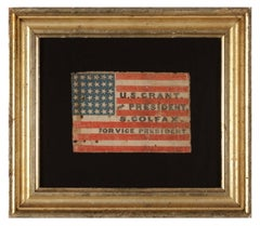 Rare Antique American Politcal Flag, 1868 Campaign of Ulysses S. Grant