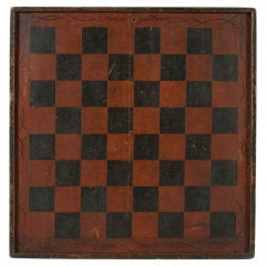 Large & Impressive, Paint Decorated Game Board in Red & Black, circa 1845
