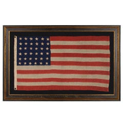Antique Civil War Era Flag with 36 Stars, Made in New York City, Signed, 1864-67