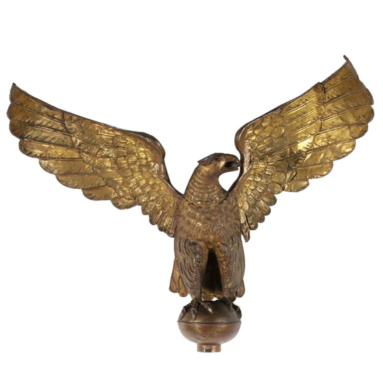 Large and Impressive Antique Molded Copper Eagle, New York City, 1890s
