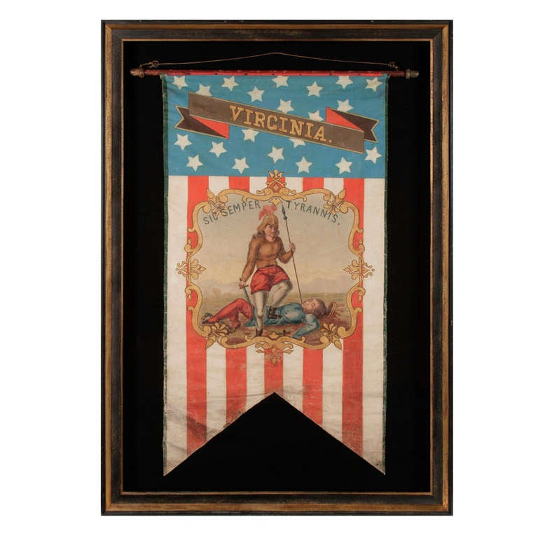 Hand-Painted Patriotic Banner with the Seal of the State of Virginia For Sale