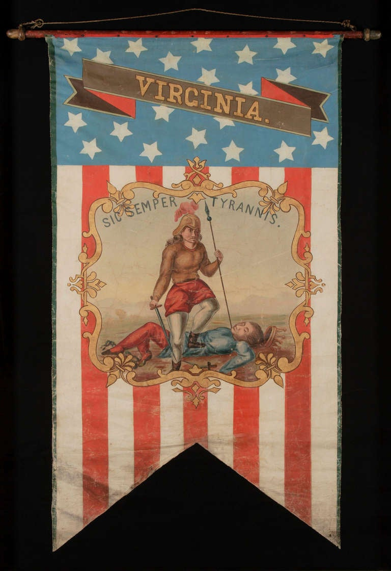 HAND-PAINTED PATRIOTIC BANNER WITH THE SEAL OF THE STATE OF VIRGINIA AND GREAT FOLK QUALITIES:    Swallowtail format, patriotic vertical banner bearing the name and the seal of the State of Virginia. Made in the period between 1861 and the 1876