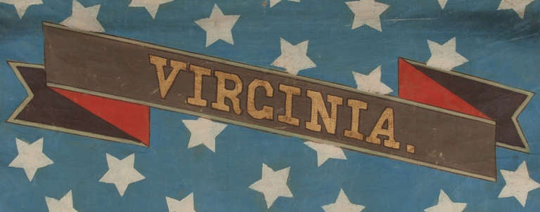 Hand-Painted Patriotic Banner with the Seal of the State of Virginia In Good Condition For Sale In York County, PA