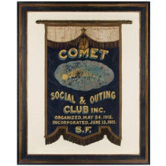 Commet Club, San Francisco, Antique Gilded & Hand-Painted Silk Banner