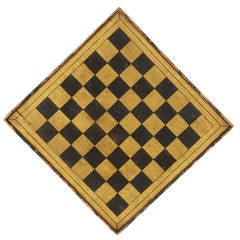 Paint-Decorated Game Board in Chrome Yellow and Black