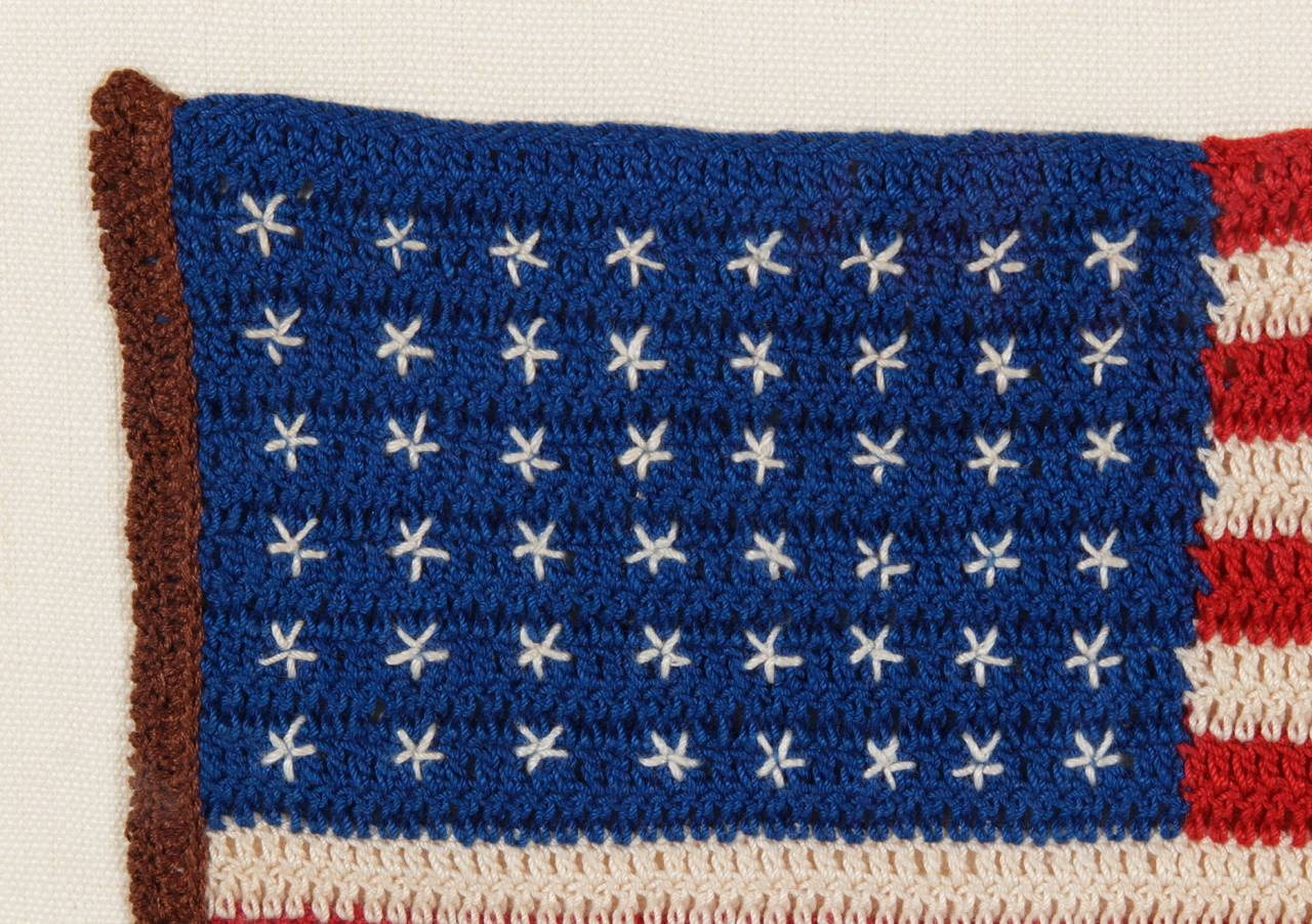 48 Stars Crochet American Flag At 1stdibs