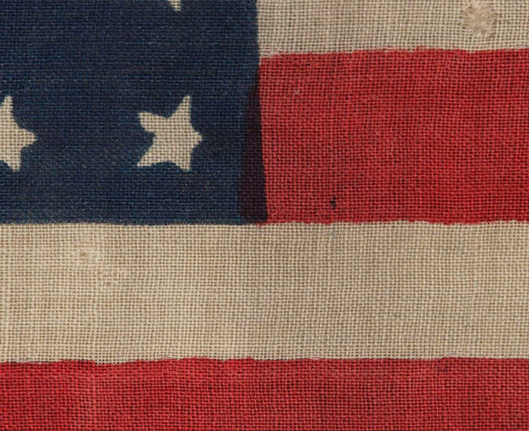 38 Star Antique American Flag Rare Circle In A Square Pattern