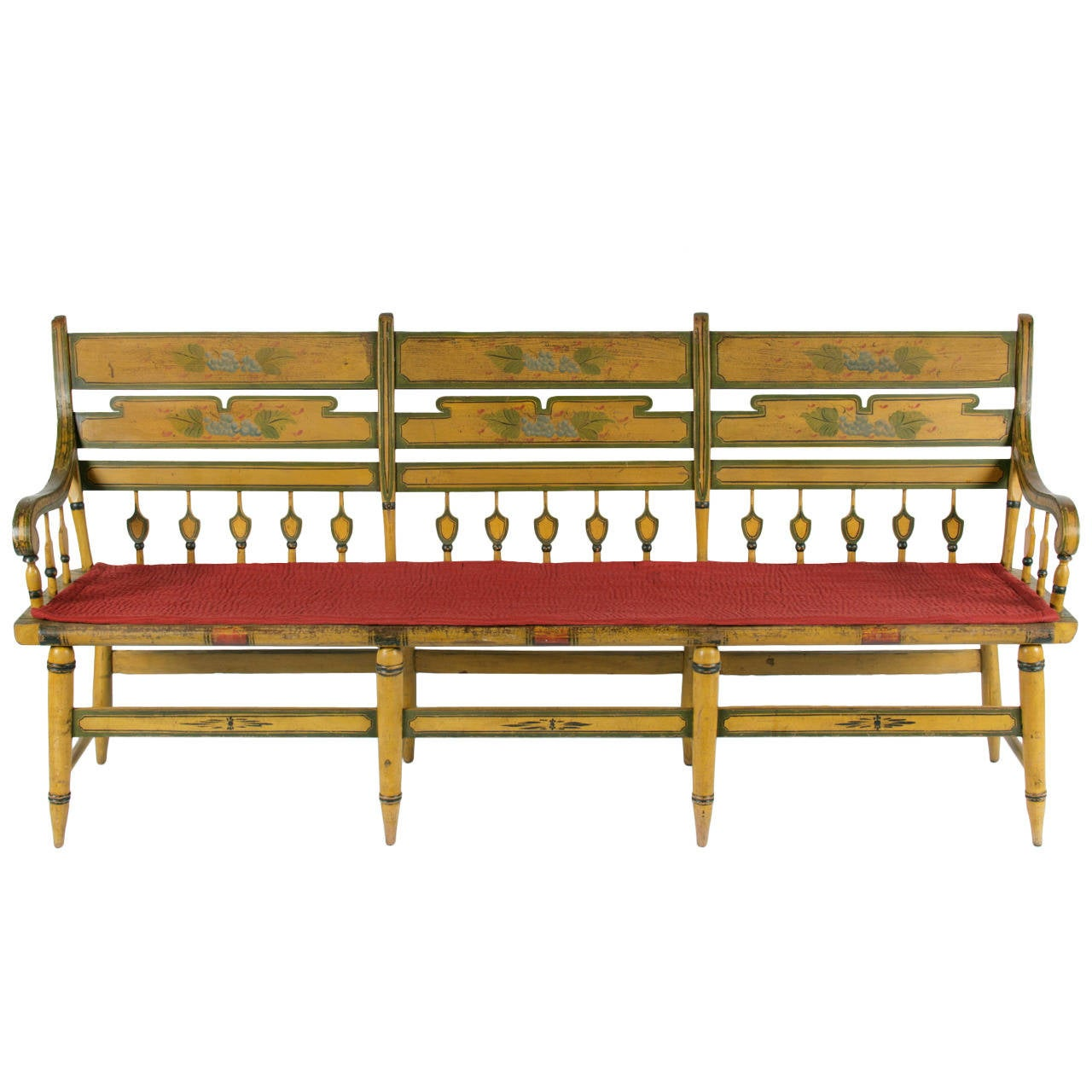 Chrome Yellow, Paint Decorated Settee For Sale